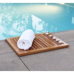 wooden bath mat