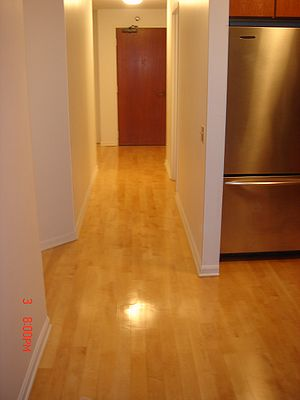 An example of solid wood flooring, site finish...